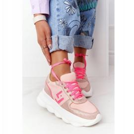 Damskie Sportowe Buty Na Platformie Lu Boo Różowe wielokolorowe 2