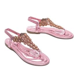 Różowe błyszczące sandały japonki Barbados 1