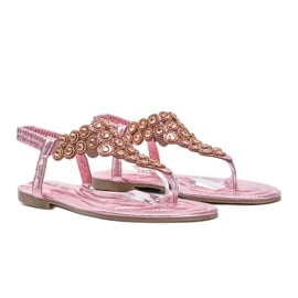Różowe błyszczące sandały japonki Barbados 2