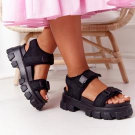 PS1 Sandały Na Masywnej Platformie Czarne Fly High 7