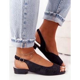 Zamszowe Sandały Na Obcasie Sergio Leone SK807 Czarne 2