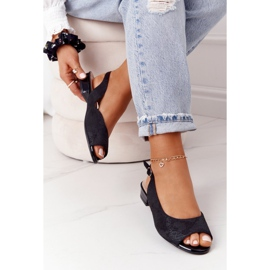 Zamszowe Sandały Na Obcasie Sergio Leone SK807 Czarne 3
