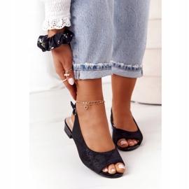 Zamszowe Sandały Na Obcasie Sergio Leone SK807 Czarne 1