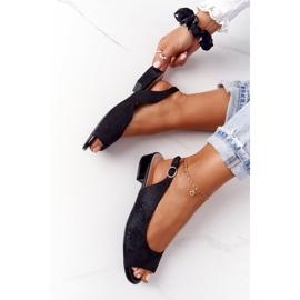 Zamszowe Sandały Na Obcasie Sergio Leone SK807 Czarne 4