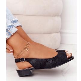 Zamszowe Sandały Na Obcasie Sergio Leone SK807 Czarne 5