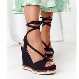 Wiązane Sandały Na Koturnie Czarne Hawaii 2