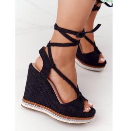Wiązane Sandały Na Koturnie Czarne Hawaii 1