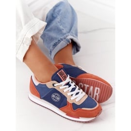Damskie Sportowe Buty Memory Foam Big Star HH274567 Niebiesko-Pomarańczowe niebieskie 2