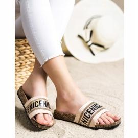 Klapki Fashion VINCEZA beżowy złoty 2