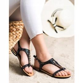 Sandałki Ze Złotymi Ozdobami VINCEZA czarne 3