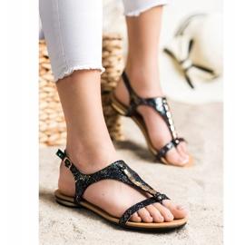 Sandałki Ze Złotymi Ozdobami VINCEZA czarne 1