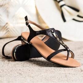 Sandałki Ze Złotymi Ozdobami VINCEZA czarne 2