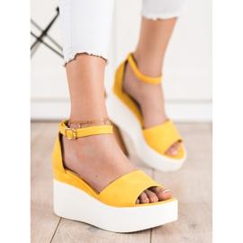 Comer Lekkie Sandały Na Platformie żółte 2