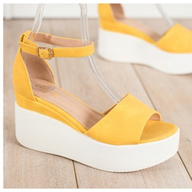 Comer Lekkie Sandały Na Platformie żółte 1