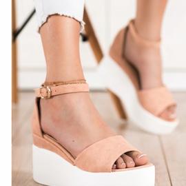 Comer Lekkie Sandały Na Platformie beżowy 2