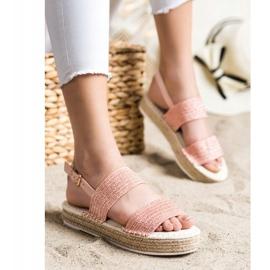 SHELOVET Plecione Sandały Na Platformie różowe 3