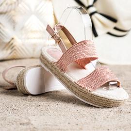 SHELOVET Plecione Sandały Na Platformie różowe 1