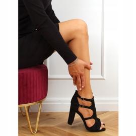 Sandałki na obcasie czarne NS111P Black 3