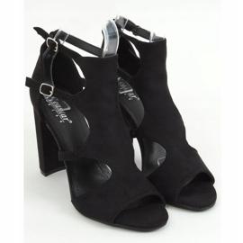 Sandałki na obcasie czarne NS111P Black 1