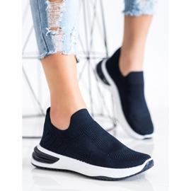 SHELOVET Wsuwane Ażurowe Sneakersy granatowe niebieskie 2