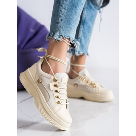 SHELOVET Beżowe Sneakersy Na Platformie beżowy 3