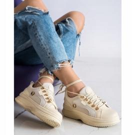 SHELOVET Beżowe Sneakersy Na Platformie beżowy 2