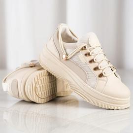 SHELOVET Beżowe Sneakersy Na Platformie beżowy 1