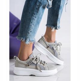 SHELOVET Szare Sneakersy Na Platformie beżowy 3