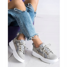 SHELOVET Szare Sneakersy Na Platformie beżowy 2
