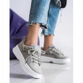 SHELOVET Szare Sneakersy Na Platformie beżowy 4
