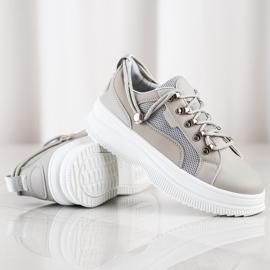 SHELOVET Szare Sneakersy Na Platformie beżowy 1