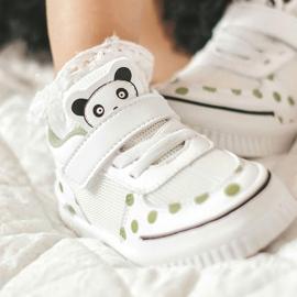 Apawwa Dziecięce Sportowe Buty Z Pandą Biało-Zielone Chico białe 9