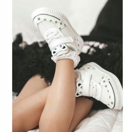Apawwa Dziecięce Sportowe Buty Z Pandą Biało-Zielone Chico białe 11