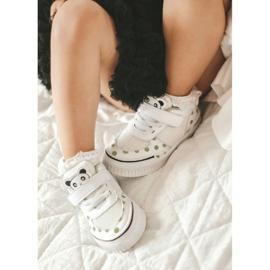 Apawwa Dziecięce Sportowe Buty Z Pandą Biało-Zielone Chico białe 2