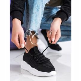 SHELOVET Klasyczne Tekstylne Sneakersy czarne 2