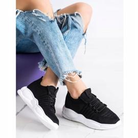 SHELOVET Klasyczne Tekstylne Sneakersy czarne 3