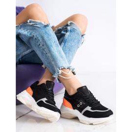 SHELOVET Komfortowe Modne Sneakersy czarne pomarańczowe srebrny 4