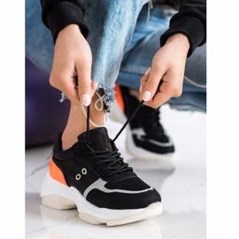 SHELOVET Komfortowe Modne Sneakersy czarne pomarańczowe srebrny 3