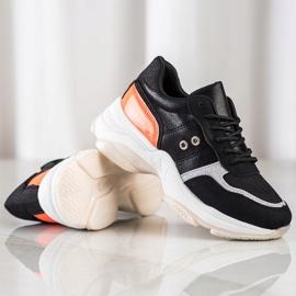 SHELOVET Komfortowe Modne Sneakersy czarne pomarańczowe srebrny 2