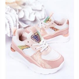 Dziecięce Sportowe Buty Sneakersy Różowe Game Time białe 4