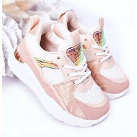 Dziecięce Sportowe Buty Sneakersy Różowe Game Time białe 2