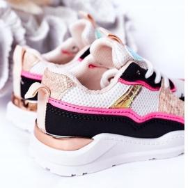 Dziecięce Sportowe Buty Sneakersy Neonowy Róż Game Time białe czarne różowe 7