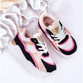 Dziecięce Sportowe Buty Sneakersy Neonowy Róż Game Time białe czarne różowe 3
