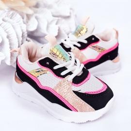 Dziecięce Sportowe Buty Sneakersy Neonowy Róż Game Time białe czarne różowe 6
