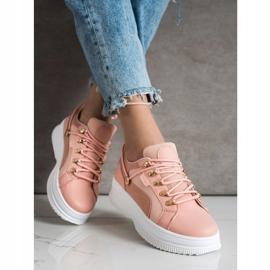 SHELOVET Różowe Sneakersy Na Platformie 2