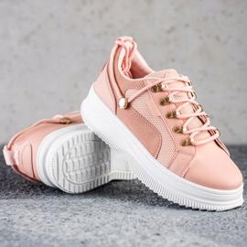 SHELOVET Różowe Sneakersy Na Platformie 1