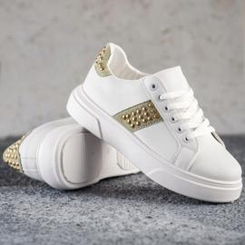 SHELOVET Sneakersy Z Ozdobami białe 3
