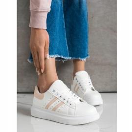 SHELOVET Klasyczne Sneakersy Z Paskami białe 3