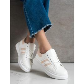 SHELOVET Klasyczne Sneakersy Z Paskami białe 2