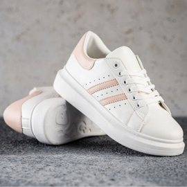 SHELOVET Klasyczne Sneakersy Z Paskami białe 1